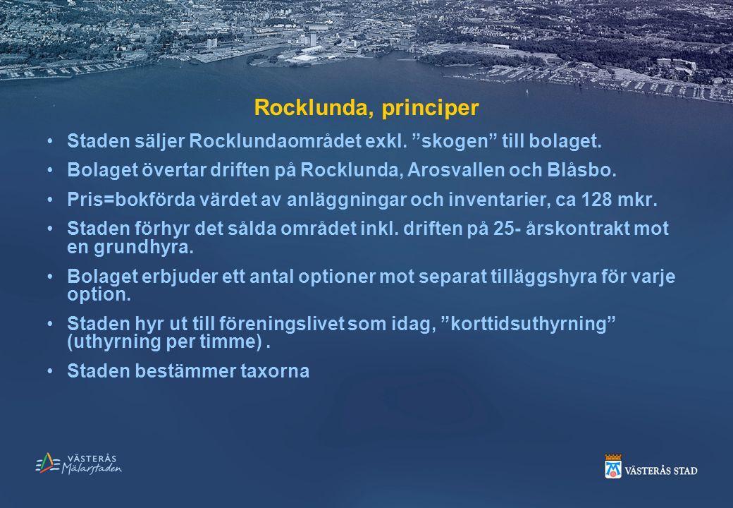 """Rocklunda, principer Staden säljer Rocklundaområdet exkl. """"skogen"""" till bolaget. Bolaget övertar driften på Rocklunda, Arosvallen och Blåsbo. Pris=bok"""