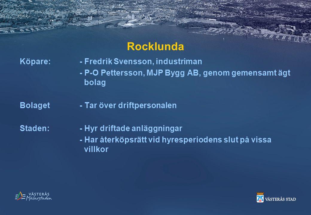 Rocklunda Köpare:- Fredrik Svensson, industriman - P-O Pettersson, MJP Bygg AB, genom gemensamt ägt bolag Bolaget- Tar över driftpersonalen Staden:- H