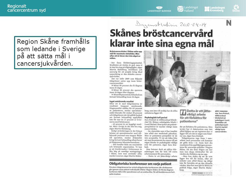 Region Skåne framhålls som ledande i Sverige på att sätta mål i cancersjukvården.