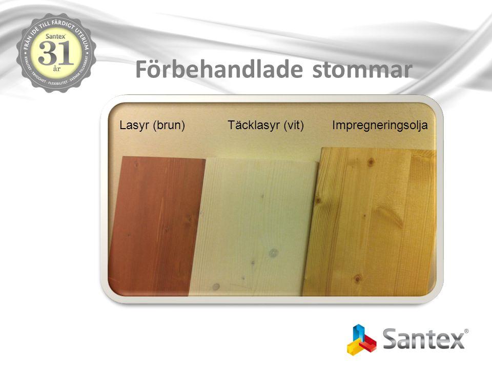 Förbehandlade stommar ImpregneringsoljaTäcklasyr (vit)Lasyr (brun)