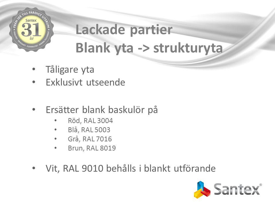 Lackade partier Blank yta -> strukturyta Tåligare yta Exklusivt utseende Ersätter blank baskulör på Röd, RAL 3004 Blå, RAL 5003 Grå, RAL 7016 Brun, RAL 8019 Vit, RAL 9010 behålls i blankt utförande