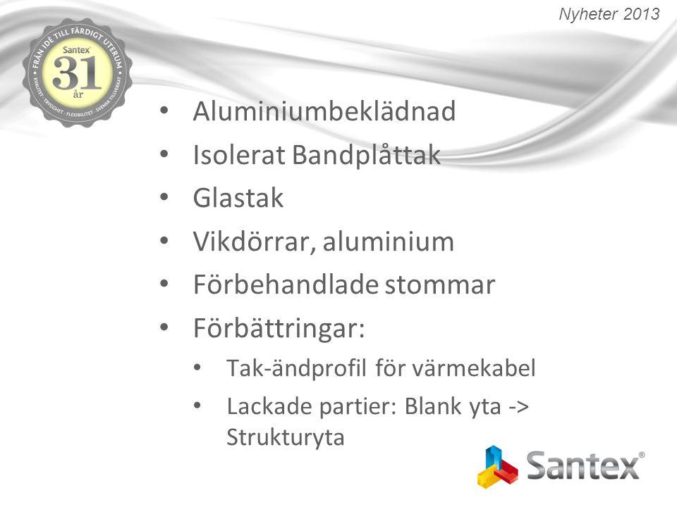 Aluminiumbeklädnad Isolerat Bandplåttak Glastak Vikdörrar, aluminium Förbehandlade stommar Förbättringar: Tak-ändprofil för värmekabel Lackade partier: Blank yta -> Strukturyta Nyheter 2013