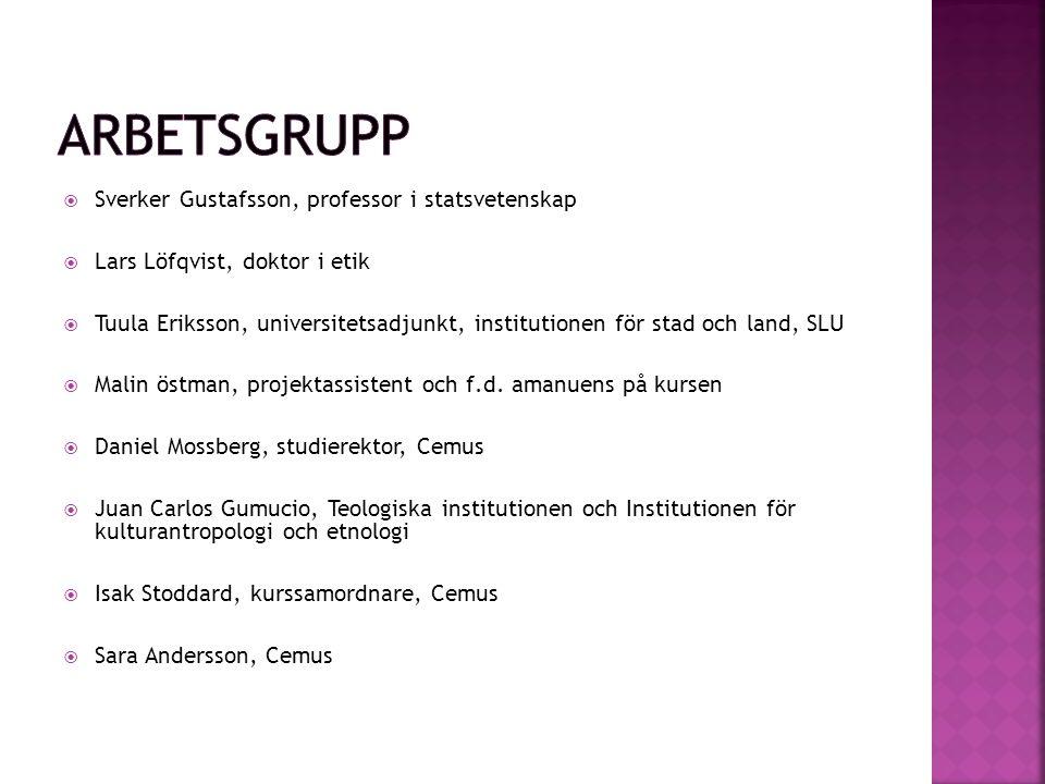  Sverker Gustafsson, professor i statsvetenskap  Lars Löfqvist, doktor i etik  Tuula Eriksson, universitetsadjunkt, institutionen för stad och land, SLU  Malin östman, projektassistent och f.d.