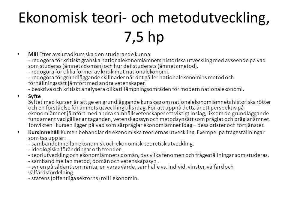 Ekonomisk teori- och metodutveckling, 7,5 hp Mål Efter avslutad kurs ska den studerande kunna: - redogöra för kritiskt granska nationalekonomiämnets h