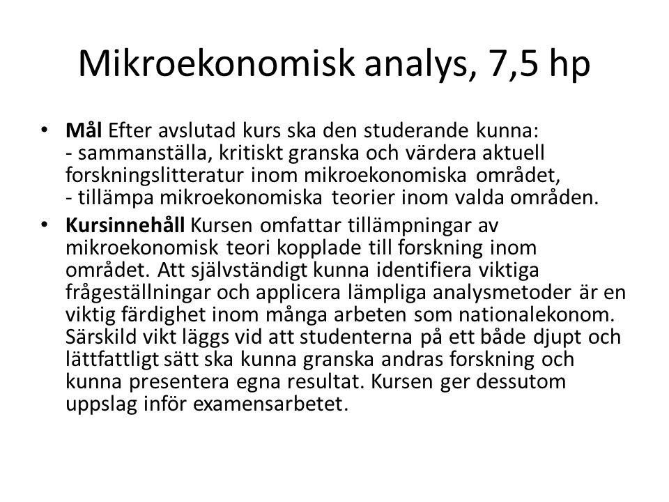 Mikroekonomisk analys, 7,5 hp Mål Efter avslutad kurs ska den studerande kunna: - sammanställa, kritiskt granska och värdera aktuell forskningslittera