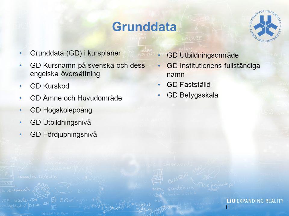 11 Grunddata Grunddata (GD) i kursplaner GD Kursnamn på svenska och dess engelska översättning GD Kurskod GD Ämne och Huvudområde GD Högskolepoäng GD