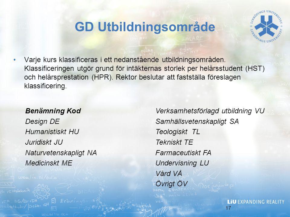 17 GD Utbildningsområde Varje kurs klassificeras i ett nedanstående utbildningsområden. Klassificeringen utgör grund för intäkternas storlek per helår