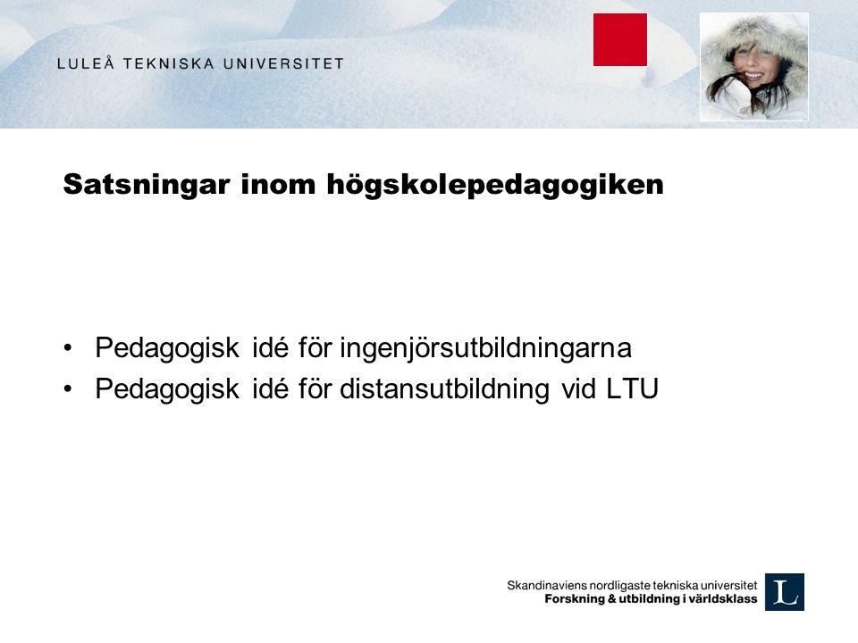 Satsningar inom högskolepedagogiken Pedagogisk idé för ingenjörsutbildningarna Pedagogisk idé för distansutbildning vid LTU