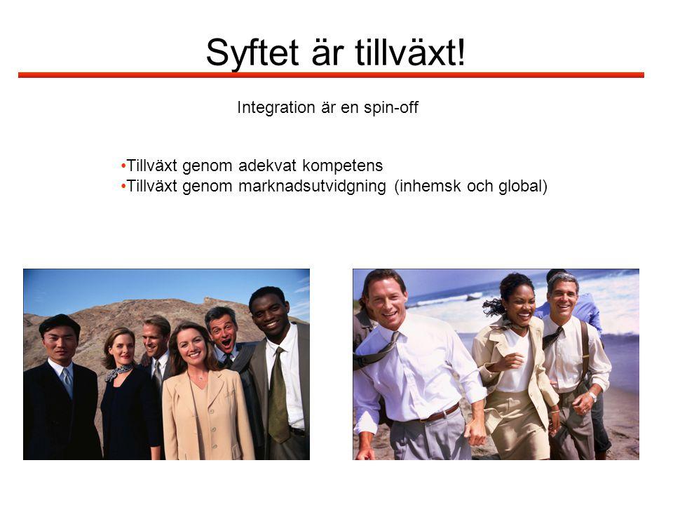 Syftet är tillväxt! Integration är en spin-off Tillväxt genom adekvat kompetens Tillväxt genom marknadsutvidgning (inhemsk och global)