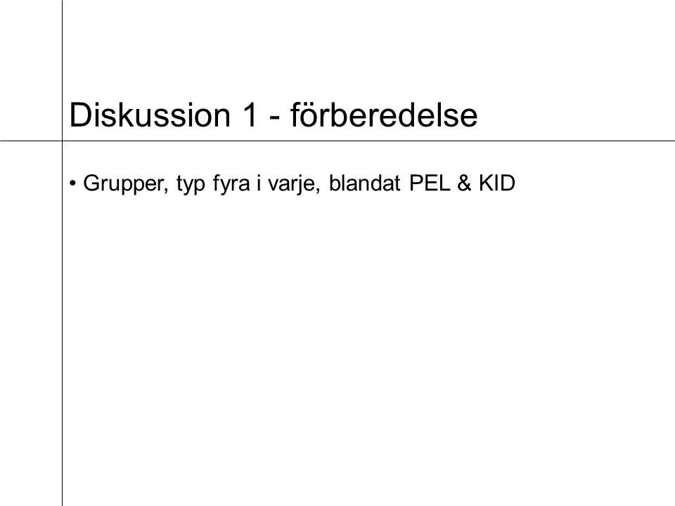 Diskussion 1 - förberedelse Grupper, typ fyra i varje, blandat PEL & KID