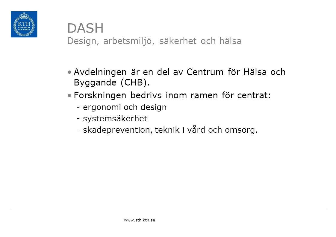 DASH Design, arbetsmiljö, säkerhet och hälsa Avdelningen är en del av Centrum för Hälsa och Byggande (CHB).