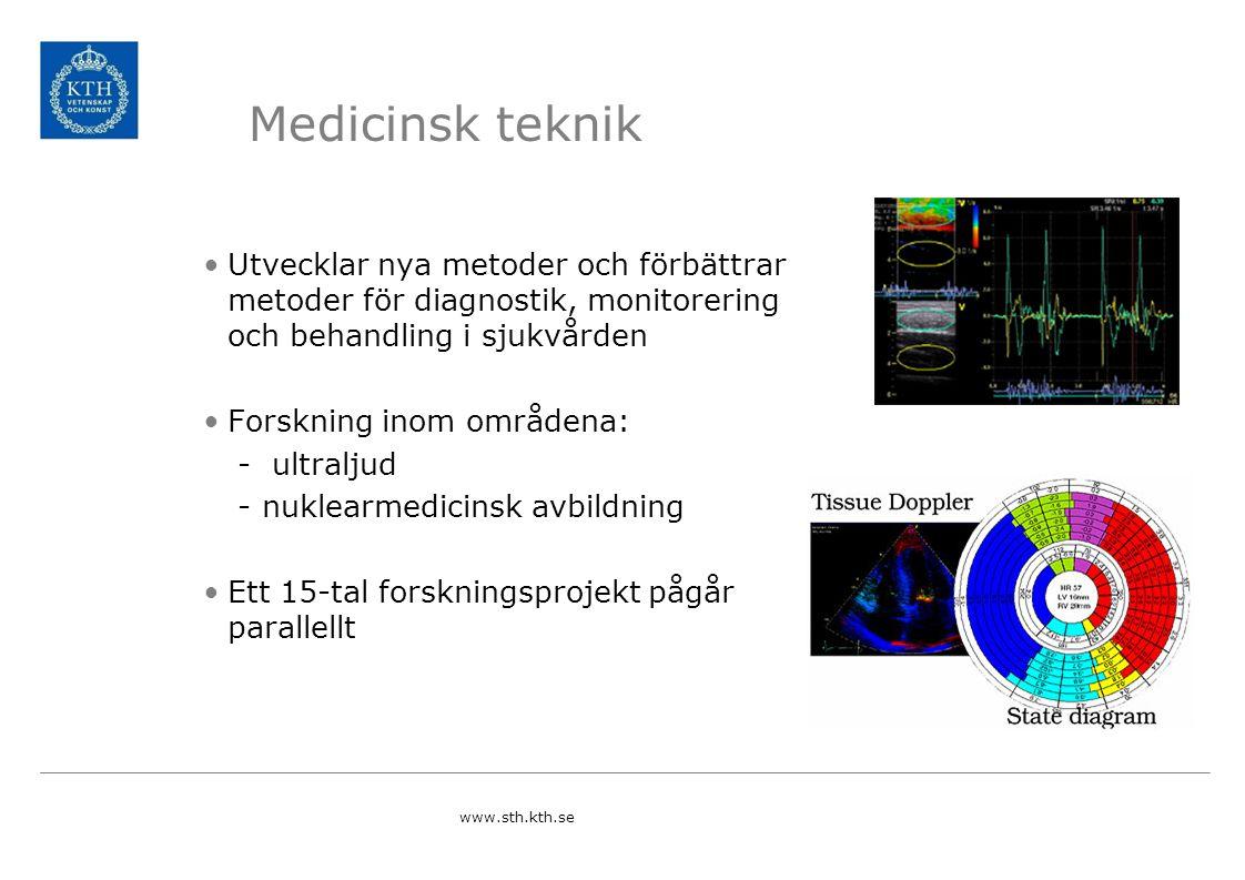 Medicinsk teknik Utvecklar nya metoder och förbättrar metoder för diagnostik, monitorering och behandling i sjukvården Forskning inom områdena: - ultraljud -nuklearmedicinsk avbildning Ett 15-tal forskningsprojekt pågår parallellt www.sth.kth.se