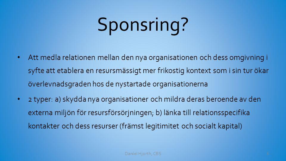 Sponsring? Att medla relationen mellan den nya organisationen och dess omgivning i syfte att etablera en resursmässigt mer frikostig kontext som i sin