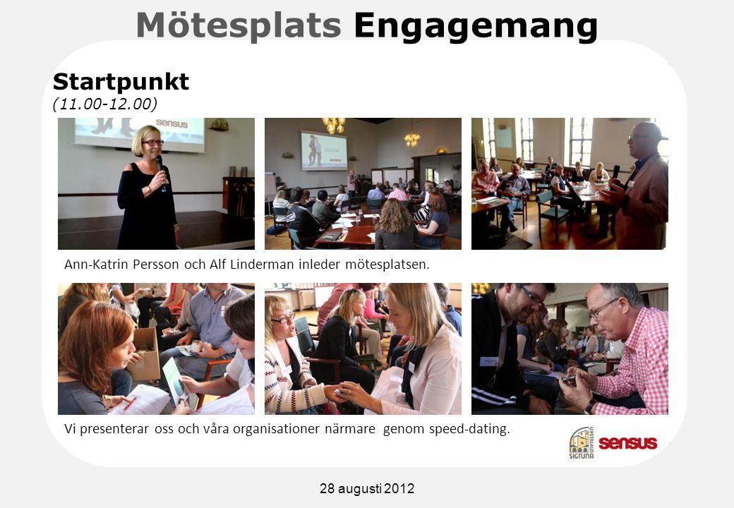 Mötesplats Engagemang Vi presenterar oss och våra organisationer närmare genom speed-dating.