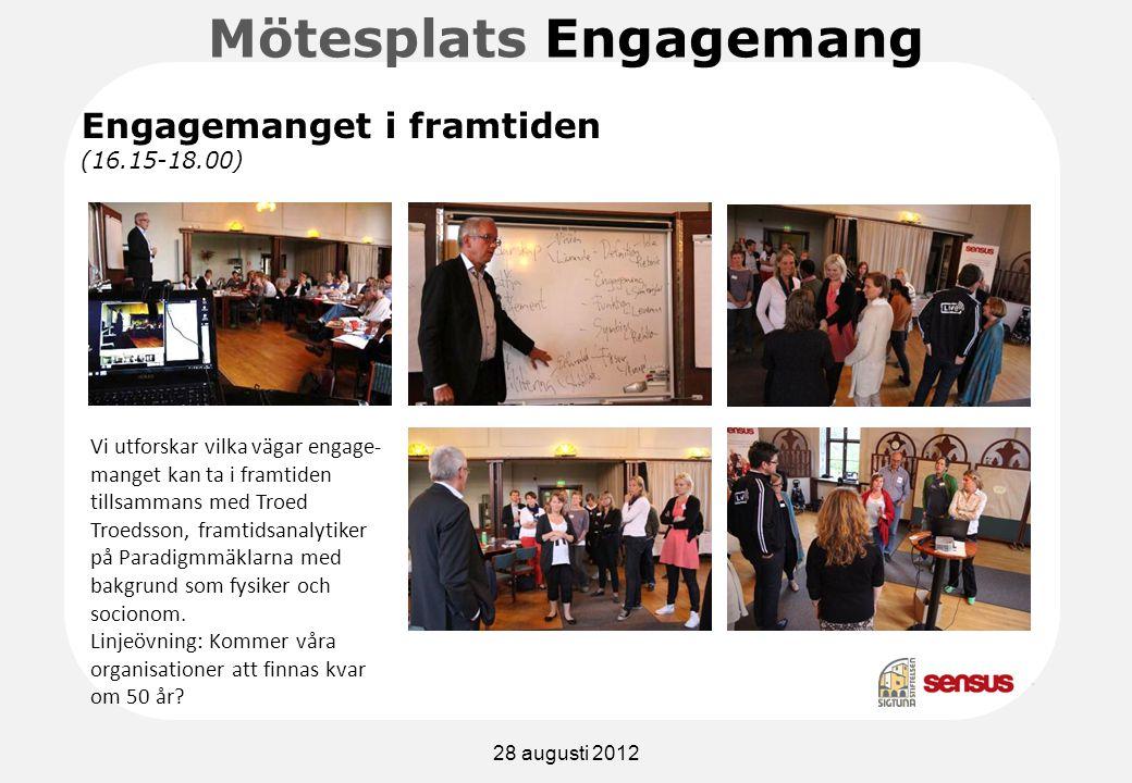 Mötesplats Engagemang Vi utforskar vilka vägar engage- manget kan ta i framtiden tillsammans med Troed Troedsson, framtidsanalytiker på Paradigmmäklarna med bakgrund som fysiker och socionom.