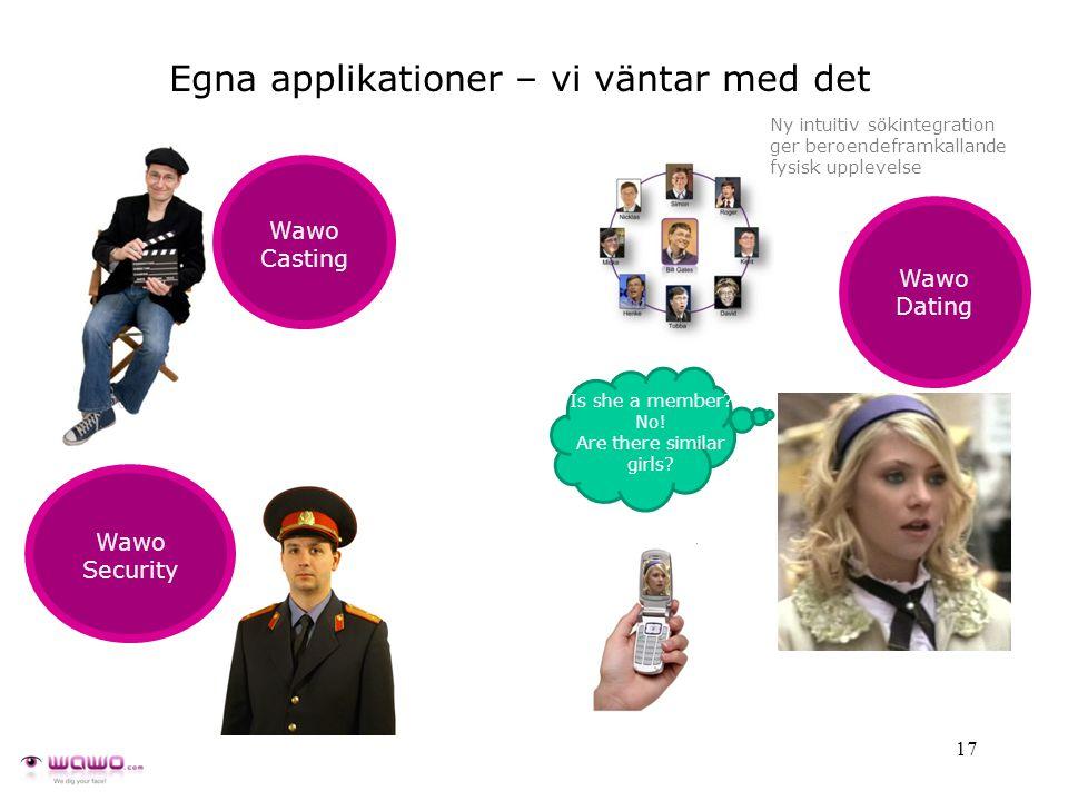 17 Egna applikationer – vi väntar med det Wawo Casting Ny intuitiv sökintegration ger beroendeframkallande fysisk upplevelse Is she a member.