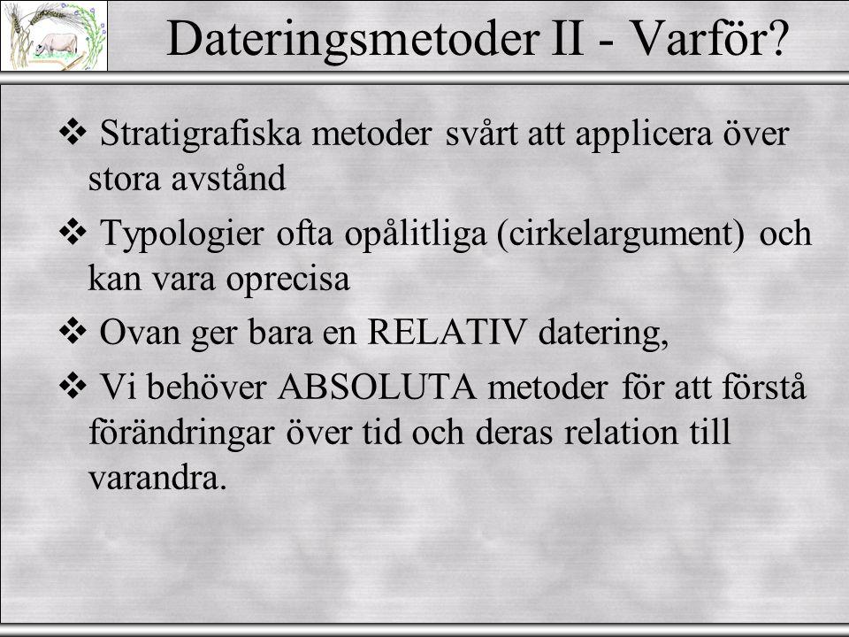 Dateringsmetoder II Naturvetenskapliga metoder Phil Buckland Arkeologi AB - Miljöarkeologiska laboratoriet (Quaternary dating methods)