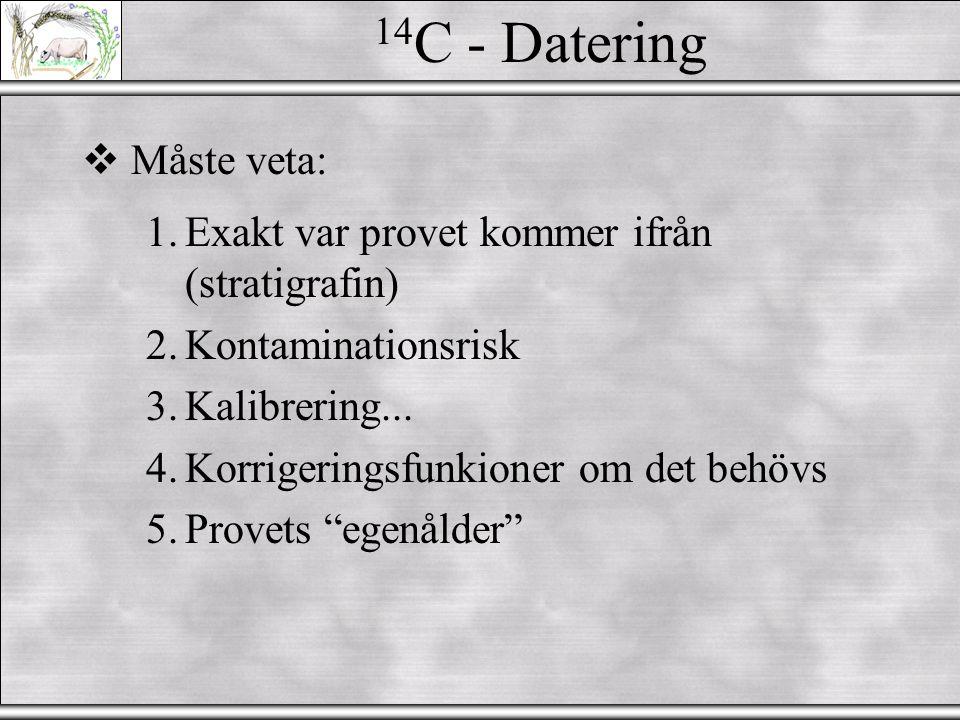 14 C - Mätning  Måste veta: 1.Mängden 12 C i provet.
