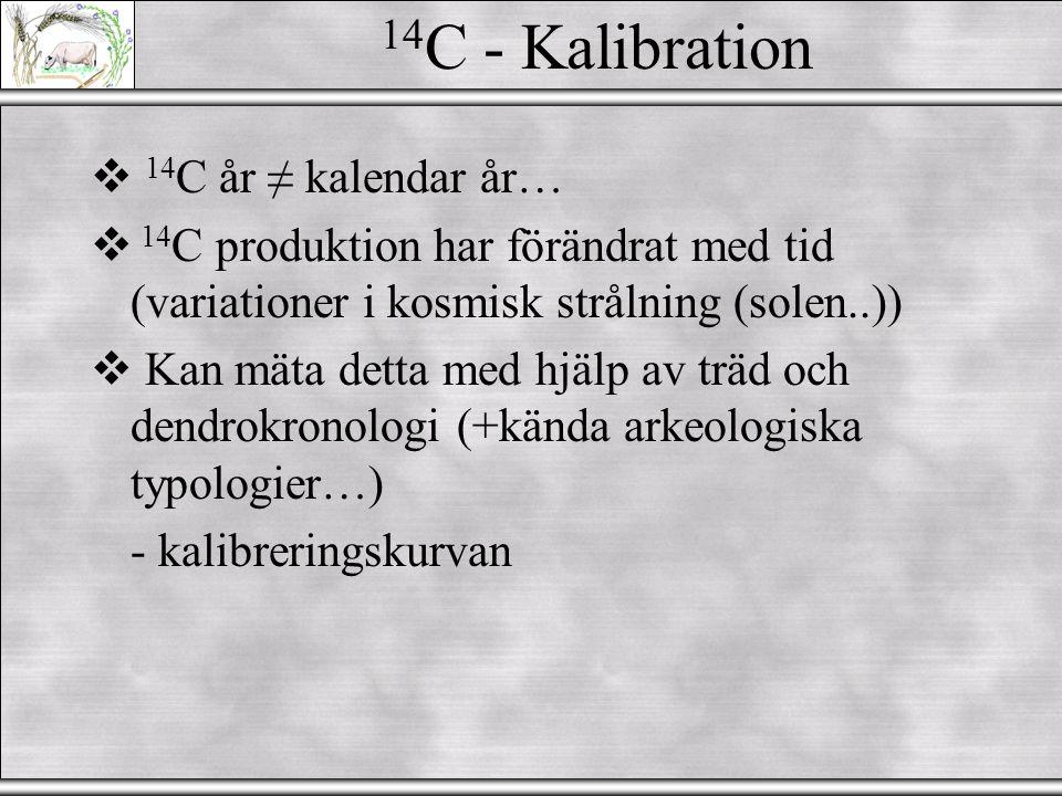 14 C - Datering  Måste veta: 1.Exakt var provet kommer ifrån (stratigrafin) 2.Kontaminationsrisk 3.Kalibrering...