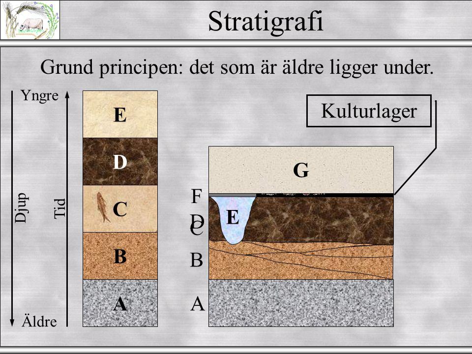 Dateringsmetoder II  Stratigrafi  Dendrokronologi (träd)  Varvkronologi  Lichenometry (lavkronologi?)  Pollen/vegetation/klimat zoner  Tephrochronology  Radiometriska metoder - 14 C (Kol-14) ; U series ; 137 Cs ; o.s.v.