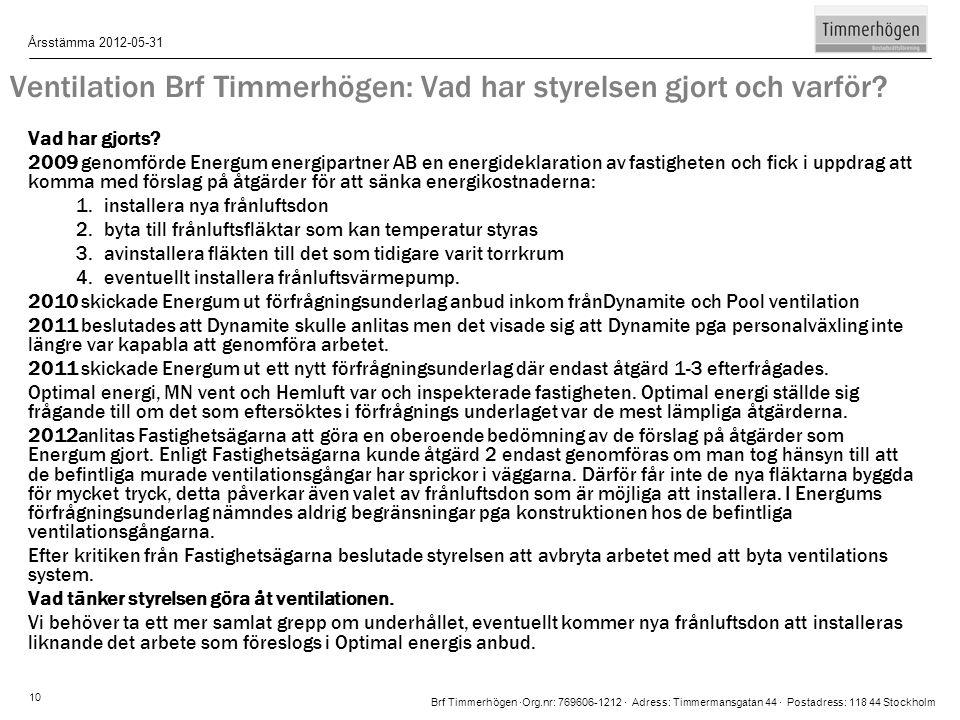 Brf Timmerhögen ∙Org.nr: 769606-1212 ∙ Adress: Timmermansgatan 44 ∙ Postadress: 118 44 Stockholm Årsstämma 2012-05-31 10 Ventilation Brf Timmerhögen: