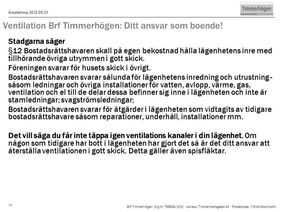 Brf Timmerhögen ∙Org.nr: 769606-1212 ∙ Adress: Timmermansgatan 44 ∙ Postadress: 118 44 Stockholm Årsstämma 2012-05-31 11 Ventilation Brf Timmerhögen: