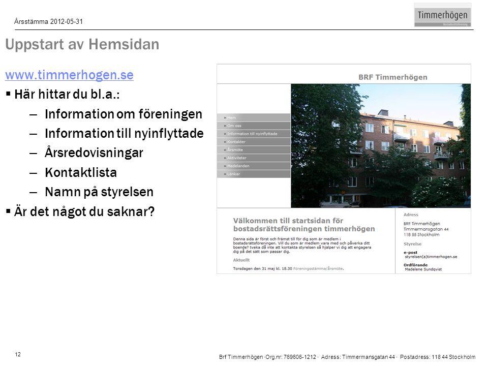 Brf Timmerhögen ∙Org.nr: 769606-1212 ∙ Adress: Timmermansgatan 44 ∙ Postadress: 118 44 Stockholm Årsstämma 2012-05-31 12 Uppstart av Hemsidan www.timm
