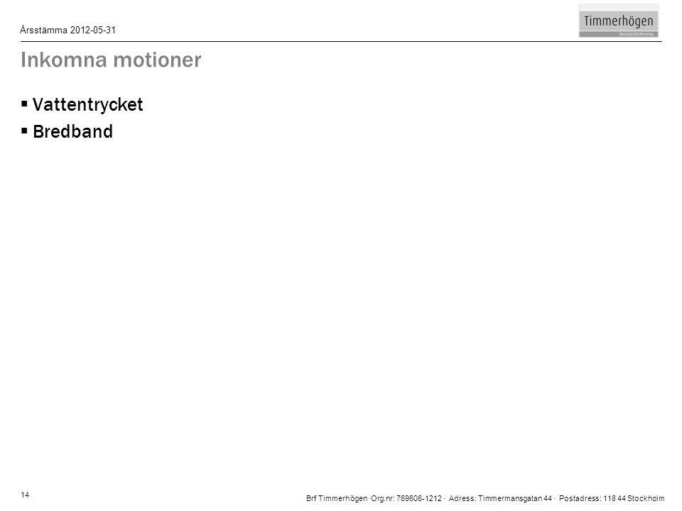 Brf Timmerhögen ∙Org.nr: 769606-1212 ∙ Adress: Timmermansgatan 44 ∙ Postadress: 118 44 Stockholm Årsstämma 2012-05-31 14 Inkomna motioner  Vattentryc