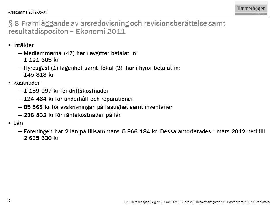 Brf Timmerhögen ∙Org.nr: 769606-1212 ∙ Adress: Timmermansgatan 44 ∙ Postadress: 118 44 Stockholm Årsstämma 2012-05-31 3 § 8 Framläggande av årsredovis