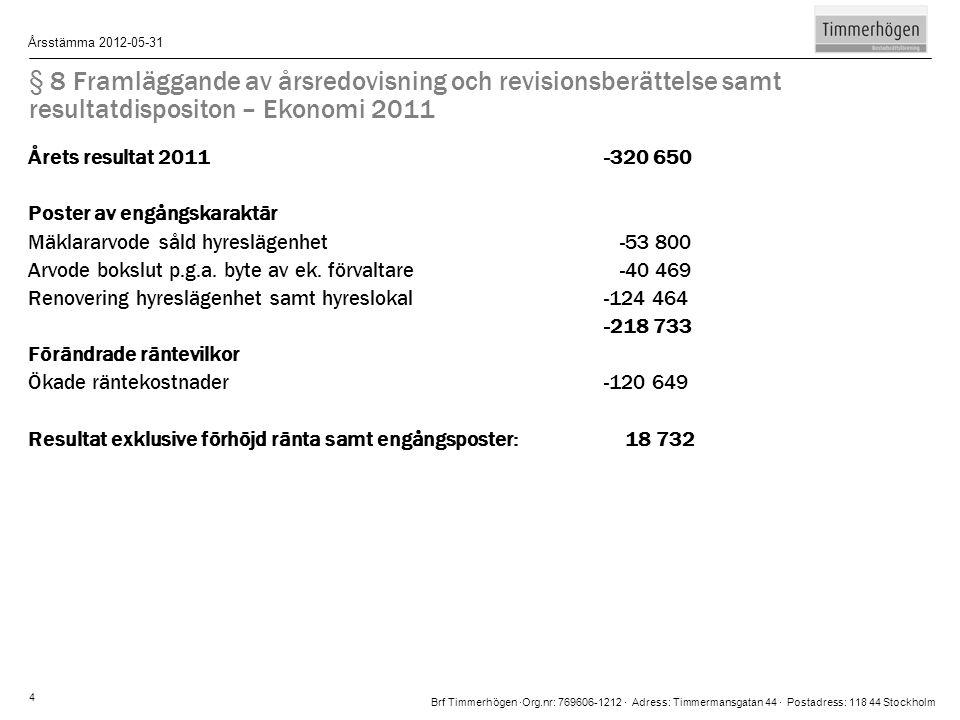 Brf Timmerhögen ∙Org.nr: 769606-1212 ∙ Adress: Timmermansgatan 44 ∙ Postadress: 118 44 Stockholm Årsstämma 2012-05-31 4 § 8 Framläggande av årsredovis