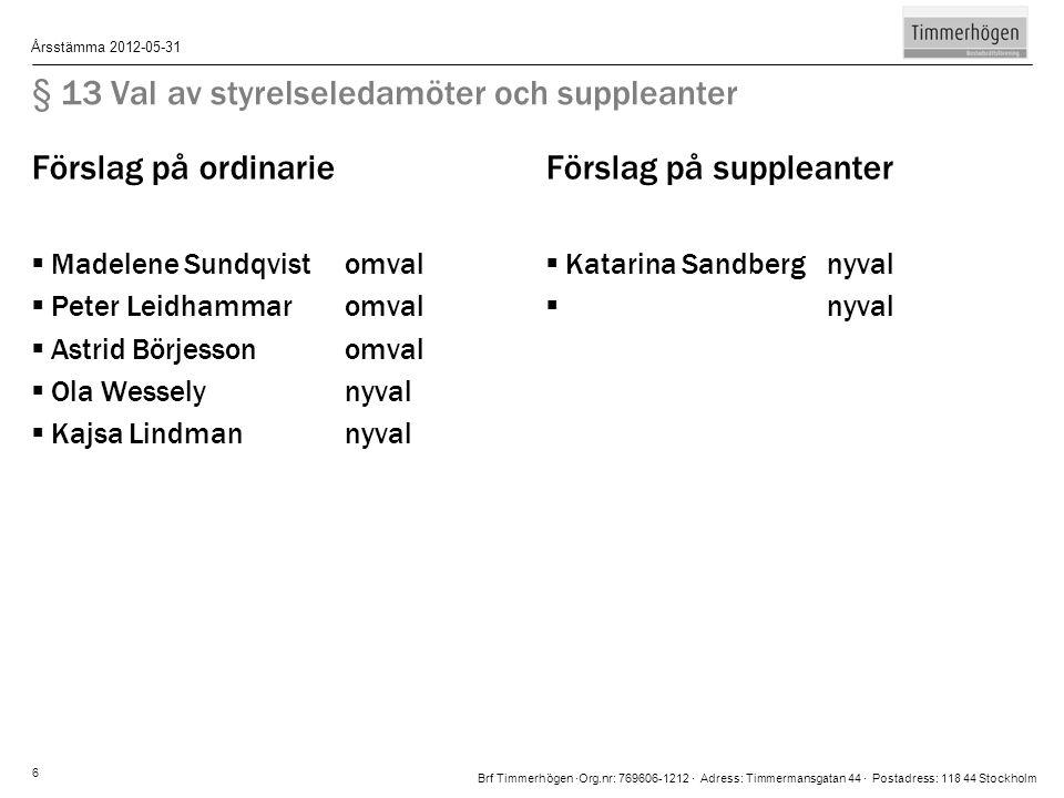 Brf Timmerhögen ∙Org.nr: 769606-1212 ∙ Adress: Timmermansgatan 44 ∙ Postadress: 118 44 Stockholm Årsstämma 2012-05-31 6 § 13 Val av styrelseledamöter