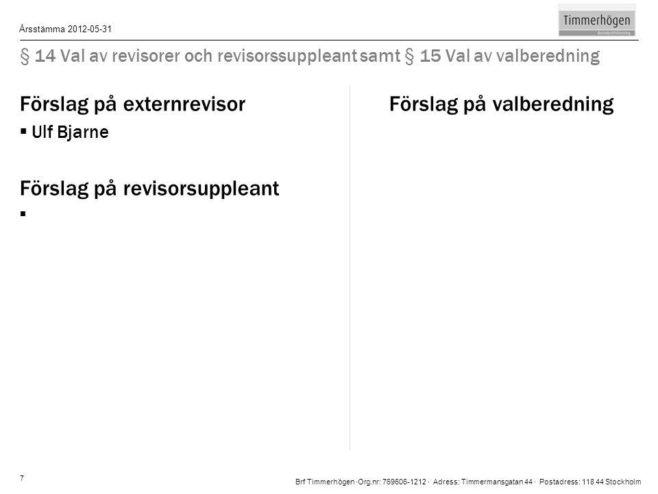 Brf Timmerhögen ∙Org.nr: 769606-1212 ∙ Adress: Timmermansgatan 44 ∙ Postadress: 118 44 Stockholm Årsstämma 2012-05-31 7 § 14 Val av revisorer och revi