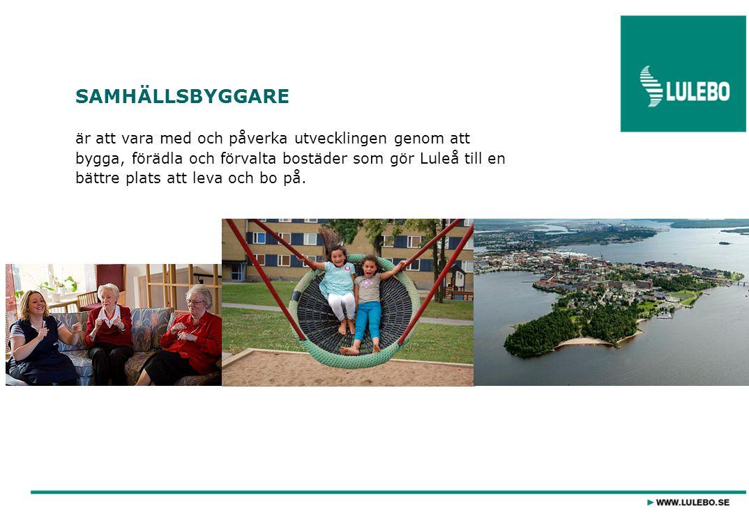SAMHÄLLSBYGGARE är att vara med och påverka utvecklingen genom att bygga, förädla och förvalta bostäder som gör Luleå till en bättre plats att leva och bo på.