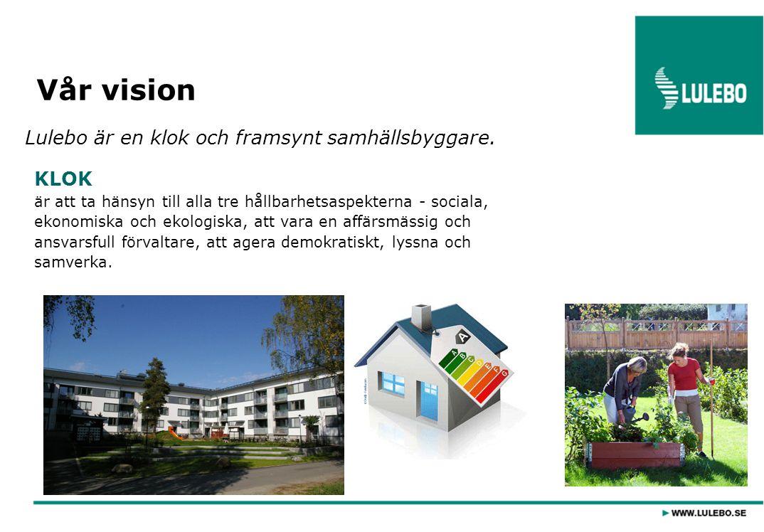 FRAMSYNT är att agera långsiktigt, att bygga sunda och friska hus, att vara en kunskapsbärare lokalt, att pröva nya tekniker och lösningar och vara en förebild på bostadsmarknaden.