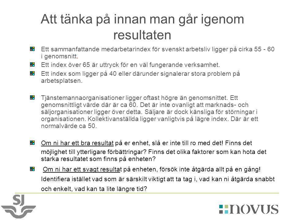 Att tänka på innan man går igenom resultaten Ett sammanfattande medarbetarindex för svenskt arbetsliv ligger på cirka 55 - 60 i genomsnitt. Ett index