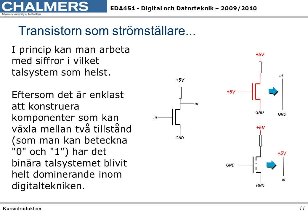 EDA451 - Digital och Datorteknik – 2009/2010 11 Kursintroduktion I princip kan man arbeta med siffror i vilket talsystem som helst. Eftersom det är en
