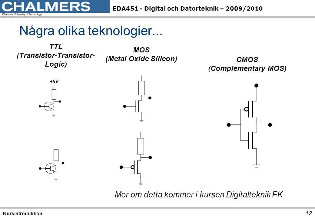 EDA451 - Digital och Datorteknik – 2009/2010 12 Kursintroduktion Några olika teknologier... +5V TTL (Transistor-Transistor- Logic) MOS (Metal Oxide Si