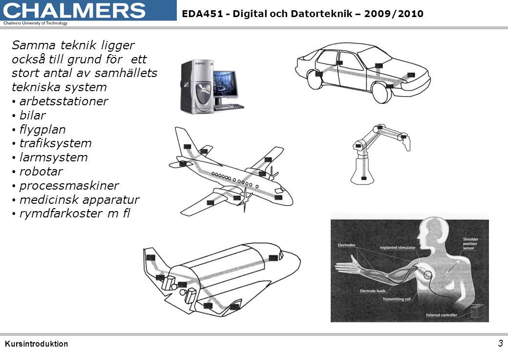 EDA451 - Digital och Datorteknik – 2009/2010 3 Kursintroduktion Samma teknik ligger också till grund för ett stort antal av samhällets tekniska system