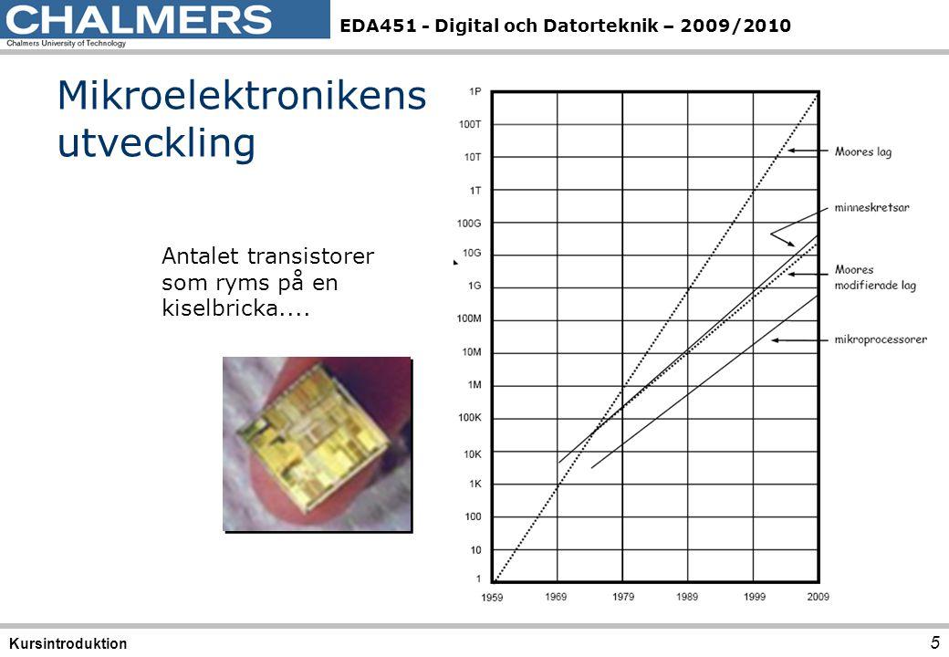 EDA451 - Digital och Datorteknik – 2009/2010 5 Mikroelektronikens utveckling Kursintroduktion Antalet transistorer som ryms på en kiselbricka....