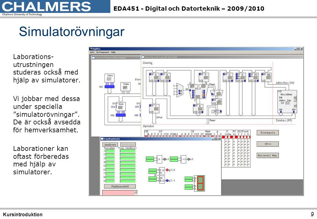 EDA451 - Digital och Datorteknik – 2009/2010 9 Simulatorövningar Kursintroduktion Laborations- utrustningen studeras också med hjälp av simulatorer. V