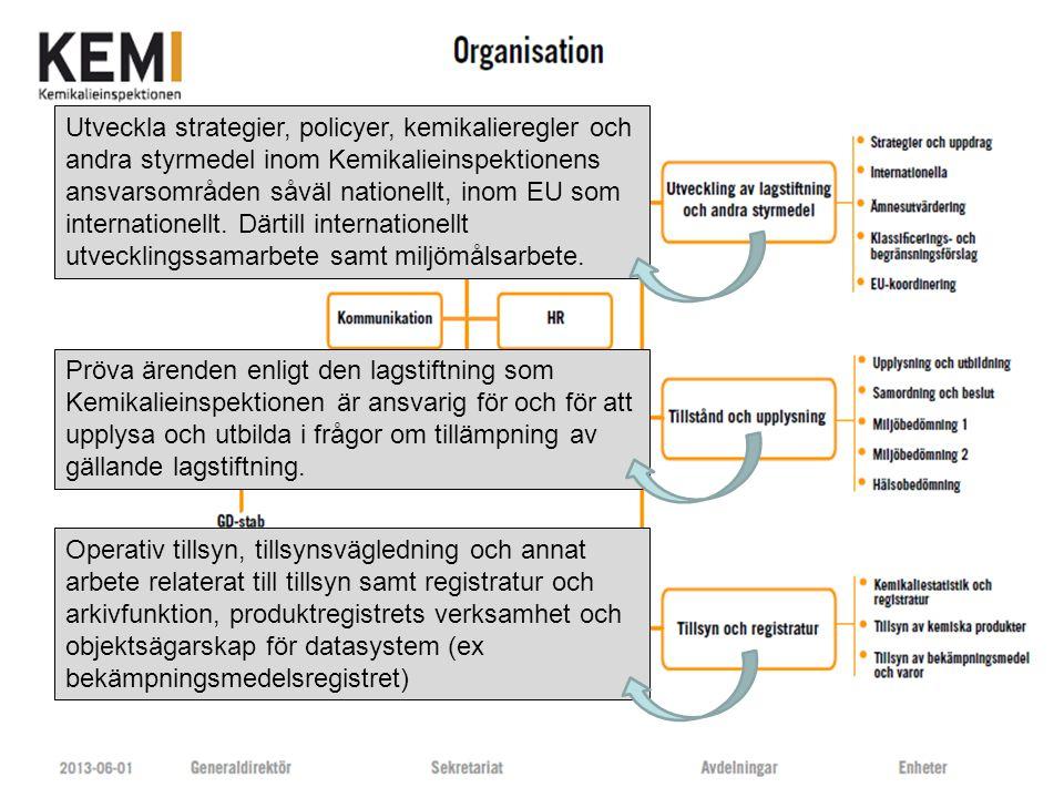 www.kemi.se Utveckla strategier, policyer, kemikalieregler och andra styrmedel inom Kemikalieinspektionens ansvarsområden såväl nationellt, inom EU so