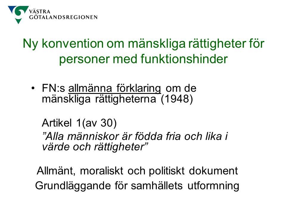Ny konvention om mänskliga rättigheter för personer med funktionshinder Internationella konventionen om/mot avskaffande av alla former av rasdiskriminering (1965) medborgerliga och politiska rättigheter (1966) ekonomiska, sociala och kulturella rättigheter (1966) avskaffande av all slags diskriminering av kvinnor (1979) tortyr och annan grym, omänsklig och förnedrande behandling eller bestraffning (1984) barns rättigheter (1989) mänskliga rättigheter för personer med funktionshinder (2006)
