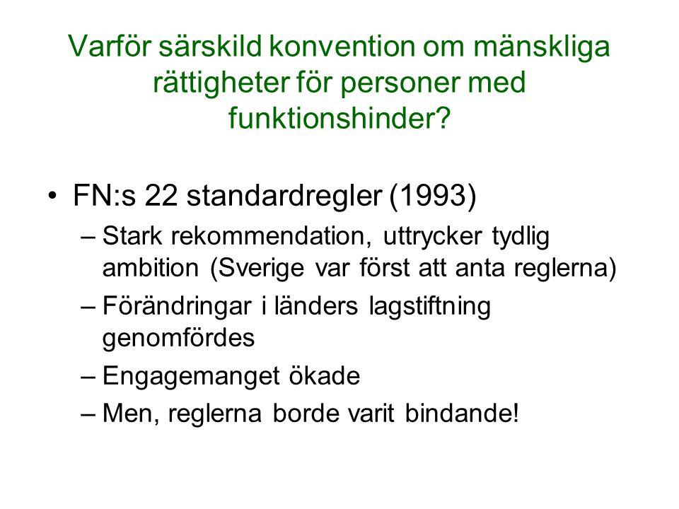 Varför särskild konvention om mänskliga rättigheter för personer med funktionshinder? FN:s 22 standardregler (1993) –Stark rekommendation, uttrycker t