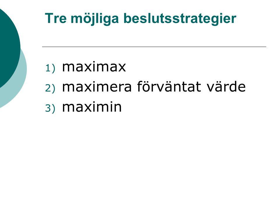 Tre möjliga beslutsstrategier 1) maximax 2) maximera förväntat värde 3) maximin