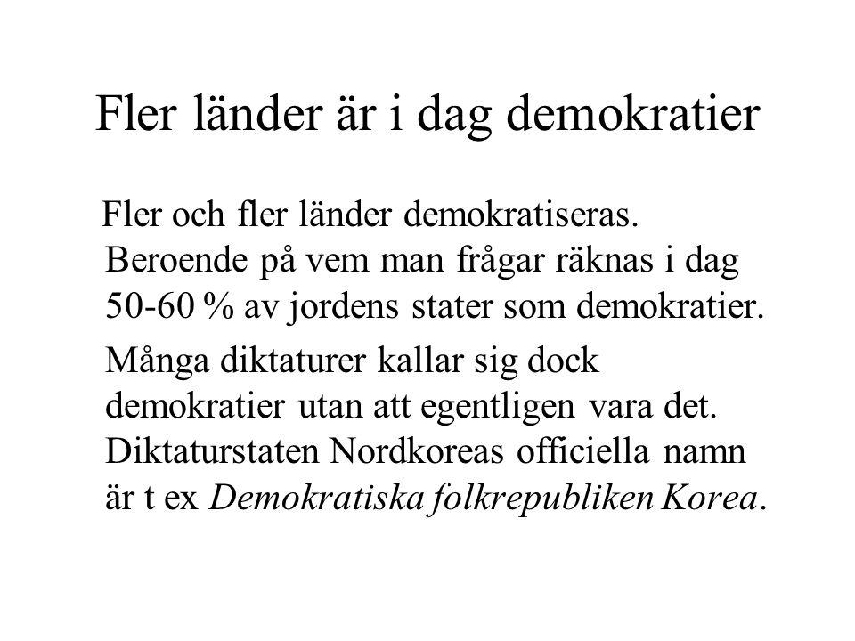 Fler länder är i dag demokratier Fler och fler länder demokratiseras. Beroende på vem man frågar räknas i dag 50-60 % av jordens stater som demokratie
