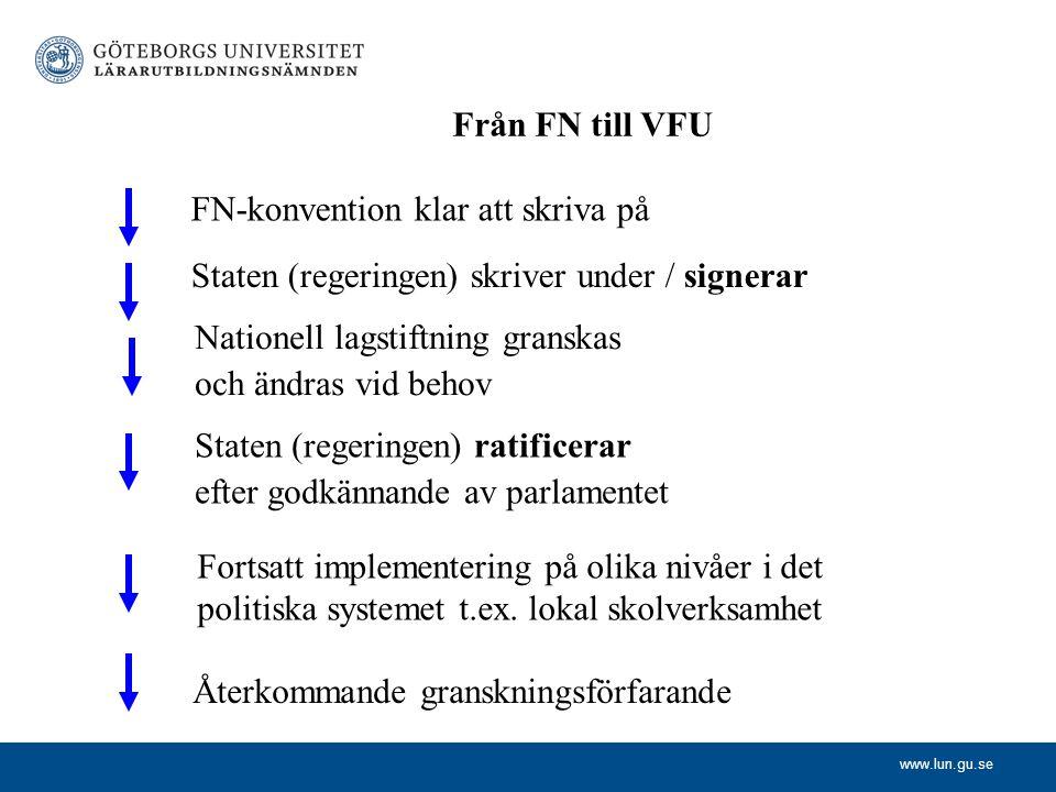 www.lun.gu.se Från FN till VFU FN-konvention klar att skriva på Staten (regeringen) skriver under / signerar Nationell lagstiftning granskas och ändra