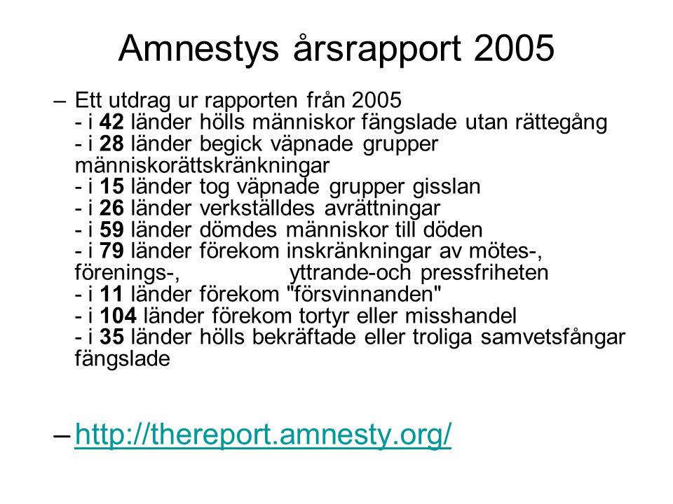 Amnestys årsrapport 2005 –Ett utdrag ur rapporten från 2005 - i 42 länder hölls människor fängslade utan rättegång - i 28 länder begick väpnade gruppe