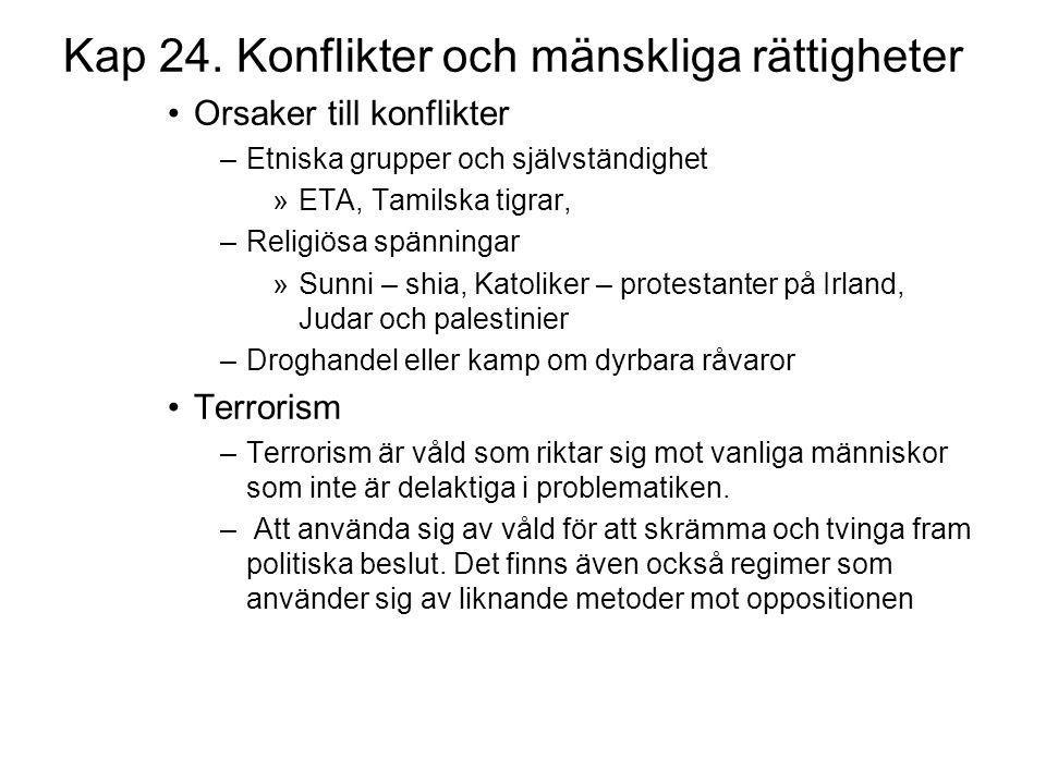 Kap 24. Konflikter och mänskliga rättigheter Orsaker till konflikter –Etniska grupper och självständighet »ETA, Tamilska tigrar, –Religiösa spänningar