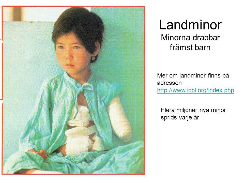 Landminor Minorna drabbar främst barn Mer om landminor finns på adressen http://www.icbl.org/index.php Flera miljoner nya minor sprids varje år