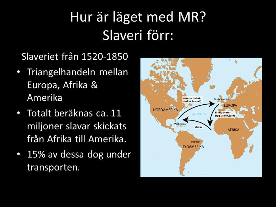 Hur är läget med MR? Slaveri förr: Slaveriet från 1520-1850 Triangelhandeln mellan Europa, Afrika & Amerika Totalt beräknas ca. 11 miljoner slavar ski